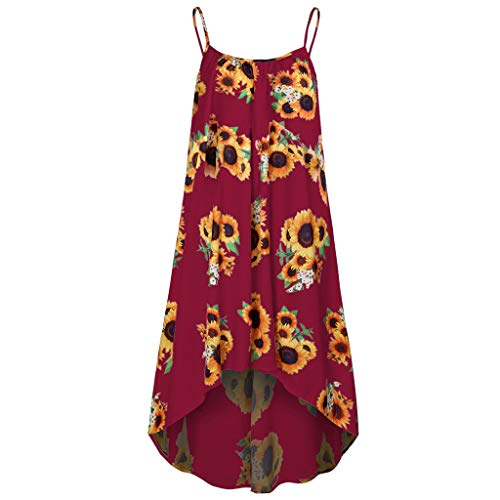 LYN Star❤ღ♕ Women's Vintage V Neck A Line Faux Wrap Dress with Belt Casual Floral Printed Long Maxi Dress Short/Sling Wine
