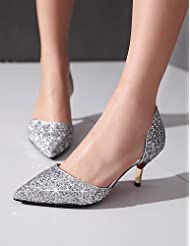 Women's Shoes Glitter Stiletto Heel Heels / Basic Pump / Pointed Toe Heels Casual Black / White / Silver / Gold