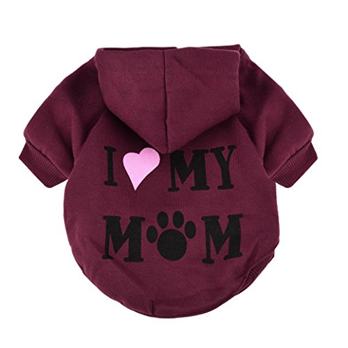 Howstar Pet Clothes, Puppy Hoodie Sweater Dog Coat Warm Sweatshirt Love My Mom Printed Shirt (M, Red)