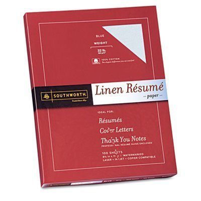 Southworth - Resume Paper, Linen, 32 lb, 8-1/2x11, 100/BX, Blue, Sold as 1 Box, SOU RD18BCFLN by Southworth® (Linen Southworth Paper Resume)