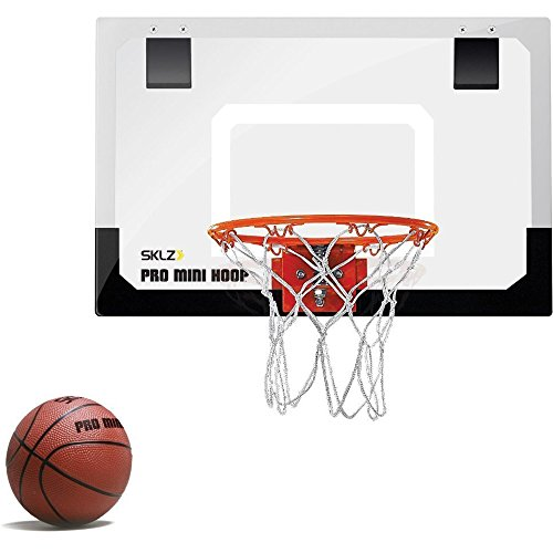 "5 Inch Mini Rubber Basketball (SKLZ Pro Mini Basketball Hoop W/ Ball. 18""x12"" Shatter Resistant Backboard.)"