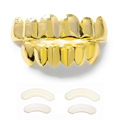 TSANLY Gold Grillz 6 Teeth Mouth 24K Plated Gold Top & Bottom Grills Caps Set for Son + Extra Molding Bars + Microfiber Cloth]()