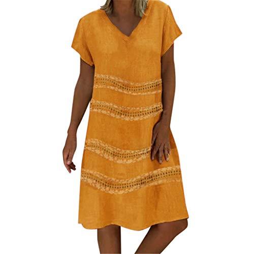 Sunhusing Summer Ladies Holiday Casual Wave Stripe Print Sexy V-Neck Short-Sleeve Dress Leisure Sundress Yellow
