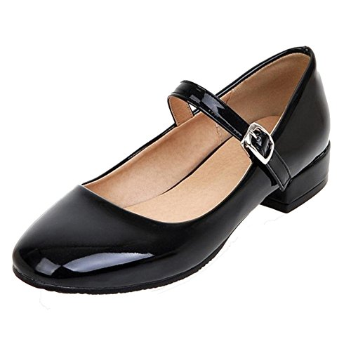 TAOFFEN Women Western Thick Low Heel Square Toe Mary Jane Court Shoes Black