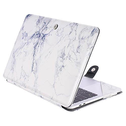 MOSISO PU Leather Case Compatible 2018 MacBook Air 13 A1932 Retina / 2019 2018 2017 2016 MacBook Pro 13 A1989/A1706/A1708, Book Folio Protective Cover Stand Sleeve, White Marble