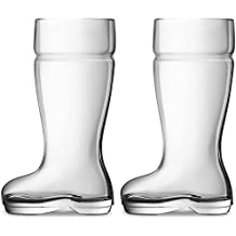 Circleware 55667 Circleware Das Boot Set of 2 Huge 1 Liter Glass Beer Mugs Drinking Glasses, Clear, 1 Liter