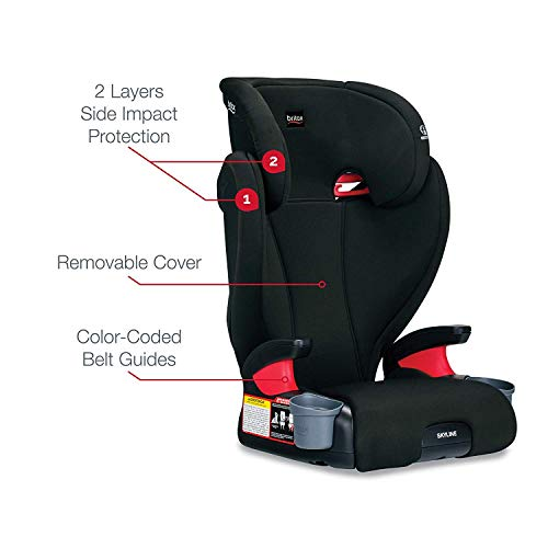 41TC 4k1DzL - Britax Skyline 2-Stage Belt-Positioning Booster Car Seat - Highback And Backless | 2 Layer Impact Protection - 40 To 120 Pounds, Dusk