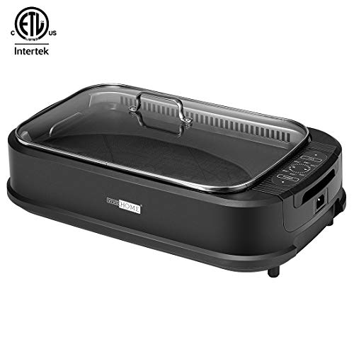 VIVOHOME Electric 1500W Smokeless Grill with Tempered Glass Lid and Removable Griddle Plates, LED Control Panel, ETL Listed, FDA Approved