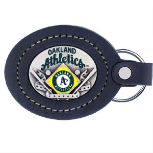 - Oakland Athletics Large Leather/Pewter Key Ring