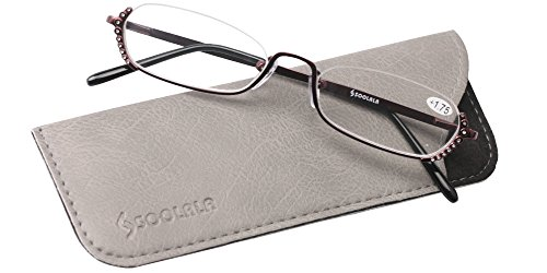 SOOLALA Ladies Rhinestone Designer Alloy Half Frame Stylish Slim Reading Glass, Red, - Frames Glasses Online