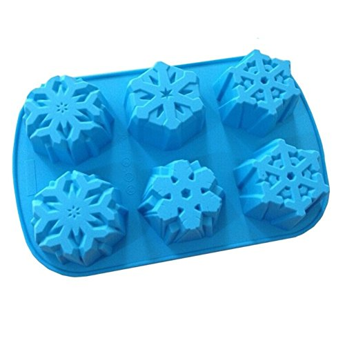 Allforhome(TM) 6 Cavity Even Snowflakes Silicone Cupcake Mold Muffin Cups Soap Mold Craft Art DIY Mold