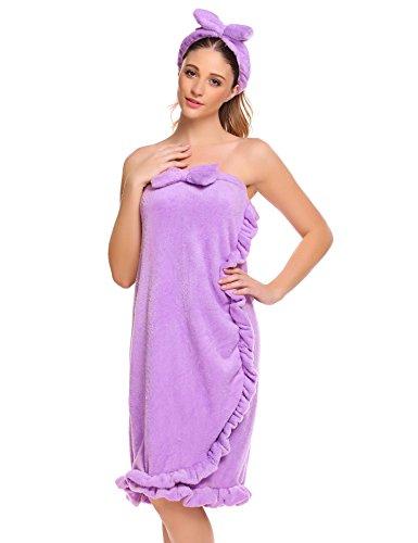 Asatr Women's Wrap Robe Super Plush Fleece Spa Bathrobe Strapless Bathing Towel Tube Dress Bathrobe