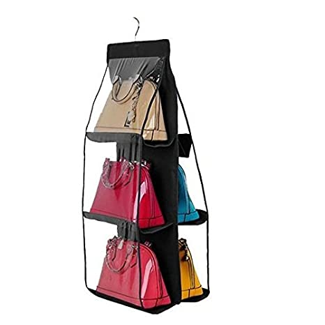 2ee5a85bfe Dreamtop 6 Pockets Handbag Storage Bag Pouches Clear Purse Hanging  Organizer Closet