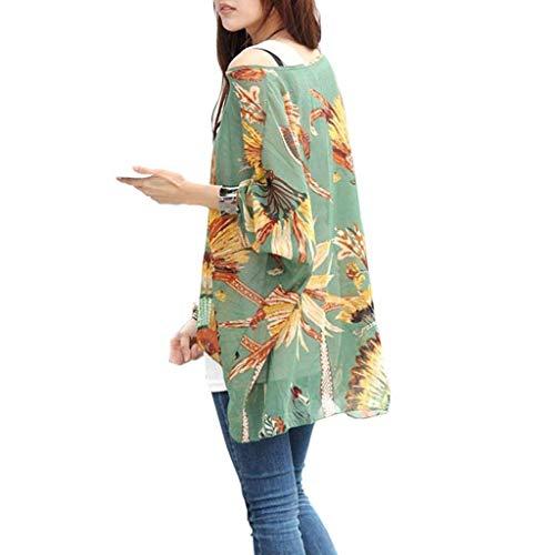 Chauve Blouse Ar Elgante Mode Mousseline paules Haut Feder Femme Imprim Vintage Dsinvolte Tops Mince Large Nues Fleur Vetement Souris Basic Et Tunique qqnrp8wB