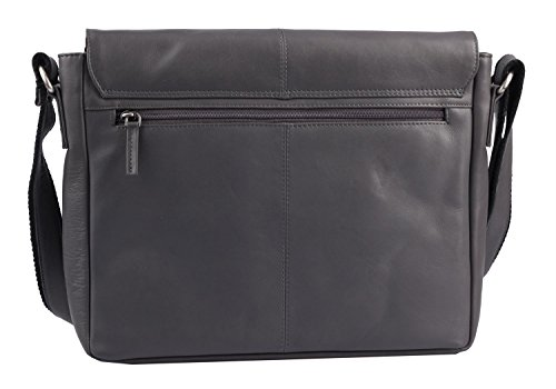 Greenburry Pure A4 Messenger Bag Tasche Leder 34 cm Laptopfach Grey 5zOoJxQQX