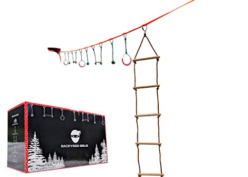Backyard Ninja Backyard 45 Foot Ninja Obstacle Course | Inspired by American Ninja Warrior Training Equipment | Slackline Swinging Monkey Bars Includes 9 Hanging Obstacles for Kids with Ladder -