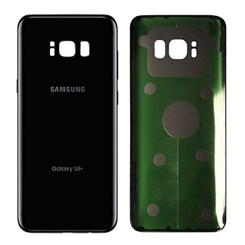 Replacement Back Glass Cover Back Battery Door w/Pre-Installed Adhesive for Samsung Galaxy S8 Plus - All Models G955 All Carriers- 2 Logo - OEM Replacement (Midnight Black)