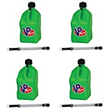 4 Pack VP 5 Gallon Square Green Racing Utility Jugs with 4 Deluxe Filler Hoses