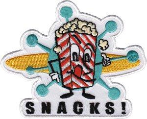 Logo Snack - Novelty Iron on - 50's Retro Snack Popcorn Movie Logo Patch