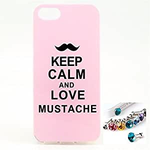 ZXC Moustache Pattern TPU Back Cover Case and Dust Plug for iPhone 5/5S