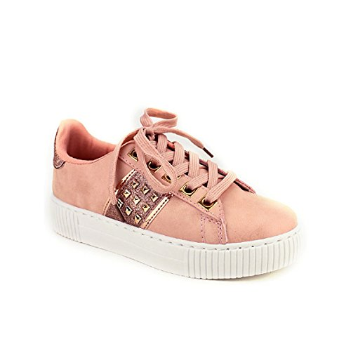 Chaussures Rivets Paillettes Cendriyon Femme EXQUILY Sneakers Rose qwRHUTC
