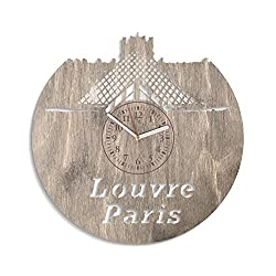 NadezhdaShop Louvre Museum Paris Wooden Wall Clock Decorations for Living Room Modern Gift Idea for Man and Woman Minimalist Wall Clock Louvre Paris Wall Decals Birthday Gift Louvre Paris Art (Gray)