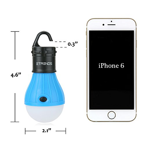 2 Pack E-TRENDS Portable LED Lantern Tent Light Bulb for Camping Hiking Fishing Emergency Light, Battery Powered Camping Equipment Gear Gadgets Lamp for Outdoor & Indoor, Blue