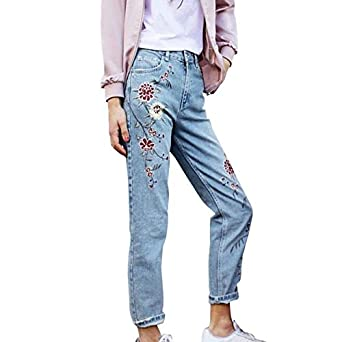 Fedi Apparel Women's Floral Embroidered Denim Cropped Slim
