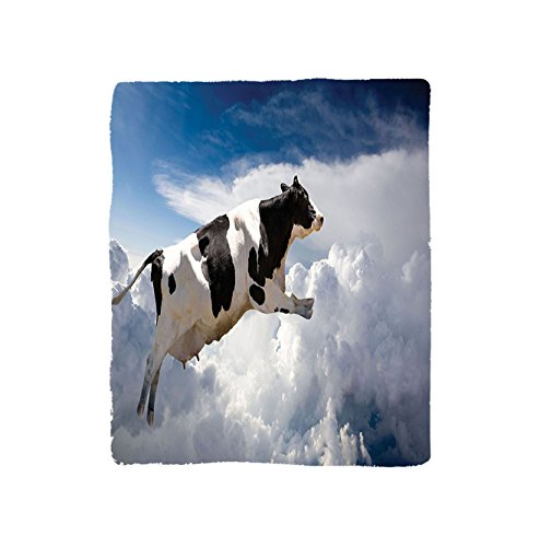 Bedroom King Size Armoire (VROSELV Custom Blanket Farmhouse Collection A Super Cow Flying over Clouds Fiction Imaginary Print Dairy Manufacturing Image Soft Fleece Throw Blanket Blue White Black)