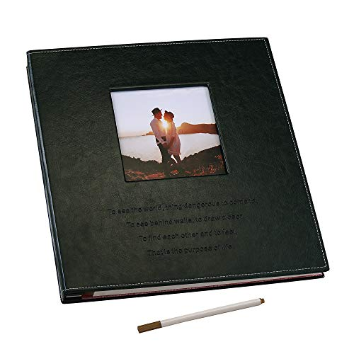 Self Adhesive Photo Album Magnetic Sticky Pages Scrapbook Album, Family Album, 50 Magnetic Double Sided Pages Large Leather Hardcover DIY Photo Album Hold 3X5, 4X6, 5X7, 6X8, 8X10, Photos (Dark green)