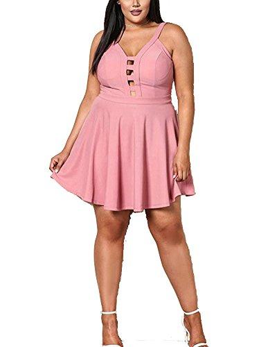 Corta Da Partito Pink Senza Maniche Abito Vestiti Manica Donne Vestito Sera x8IqwUZ