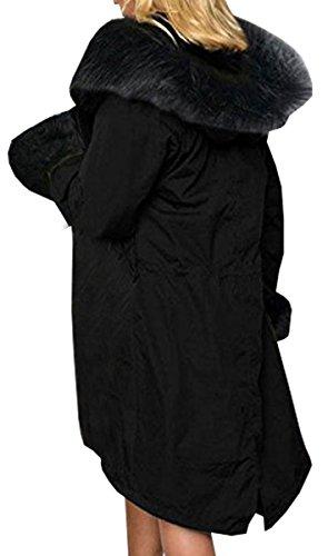 Hiver Taille Longue Veste Femme Chaud Fausse Capuche Blackmyth Manteau Parka Fourrure Noir Grande HUwR54q