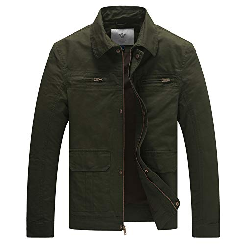 WenVen Men's Casual Outdoor Sportswear Military Jacket(Army Green,S) ()