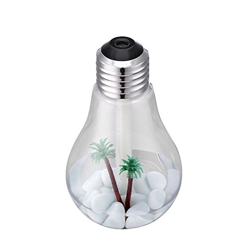 OWIKAR Mini Bulb Humidifier 400ML USB Portable Desktop Humidifier With 7 Color Changing LED Lights Cool Mist Humidifier Air Purifier for Home Office (Silver transparent)