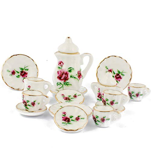 NW 1 Set 15 Pieces Rose Red Flowers Ceramics Tea Cup Set Lovely Dollhouse Decoration Set Dollhouse Kitchen Accessories ()