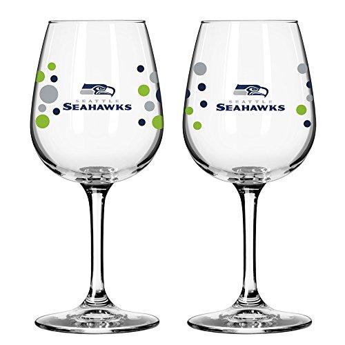 Seahawks Wine Glasses (Seattle Seahawks PolkaDot Wine Glass 12 oz. 2)