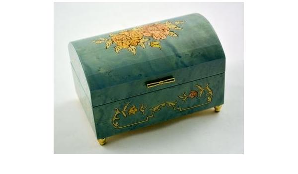 Amazon Com Made In Italy Sorrento Sky Blue Music Jewelry Box Music Box Dancer Sankyo 18 Note Home Kitchen