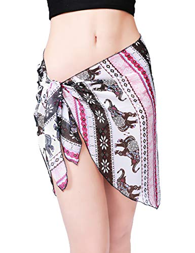 (Women Beach Chiffon Sheer Short Sarong Wrap Bikini Cover Up Printed/Solid Color Mini Slit Skirt Swimwear Bathing Suit Pink Elephant)