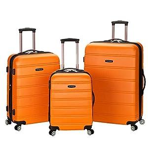 Rockland Melbourne Hardside Expandable Spinner Wheel Luggage, Orange, 3-Piece Set (20/24/28)