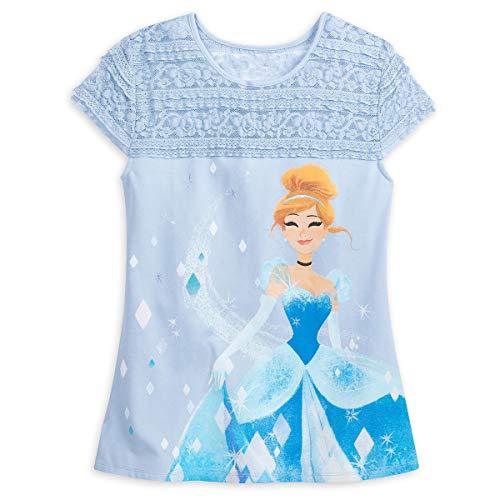 Disney Cinderella Fashion Top with Lace for Women Disney Princess Mystique (Small) Blue