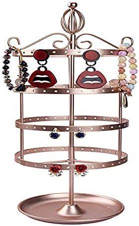Schmuck-Rack Halskette Schmuck-Anzeigen-Organisator Rack-Turm Rose Gold Classic 4 Tier Heavy Duty Metall Rotating Tabletop Armband Für die Anzeige Schmuck