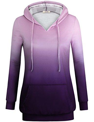 Vivilli Cute Womens Hoodie, Women's Cute Hoodies Drawstring Slim Fit Hooded Sweater Pullover Cool Sweatshirts Violet,XXL