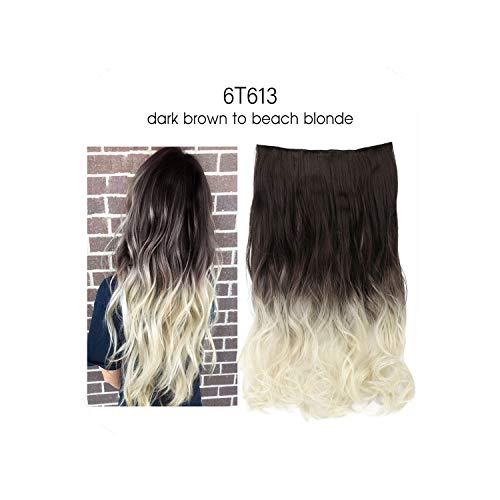 Ombre Long Clip In Hair Extensions Wavy Synthetic High Temperature Hairpiece 25 Colors Available,6T613,20Inches -