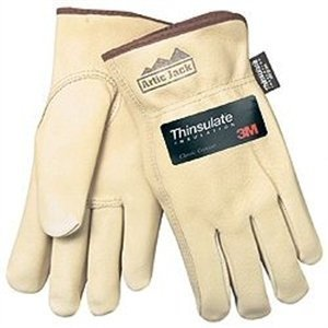 MCR Safety 3460L Artic Jack Thinsulate Premium Grain Pigskin Thermosock Lined Driver Gloves with Keystone Thumb, Cream, Large, 1-Pair - Lined Pigskin Driver