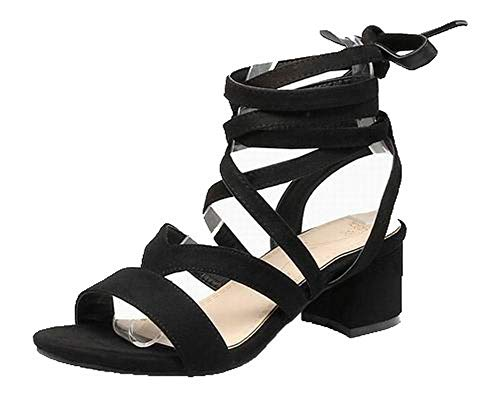 AllhqFashion Women's Imitated Suede Lace-Up Open-Toe Kitten-Heels Solid Sandals, FBULD015413, Black, 33 for $<!--$36.99-->