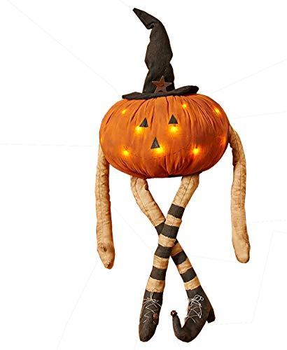 JedaJeda Halloween Pumpkin Man LED Light W/Witch Hat Country Fall Porch Lawn Home Decor]()