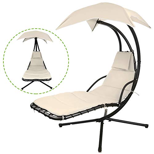 Flex HQ Hanging Chaise Lounger Chair Arc Stand Porch Swing Hammock Chair W/Canopy (Beige) - Canopy Lounger