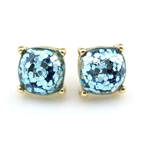 Collette Square - KEBINAI NEW Glitter Stud Earrings Women Jewelry Gold Kate New York Small Square Earrings Obsessed Party Earrings 14 Colors Option,GoldSkyBlue