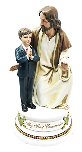 My First Communion Musical Keepsake Lord Jesus With Child Boy Figurine Sacrament of the Holy Eucharist