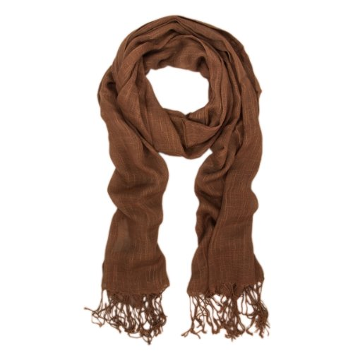 TrendsBlue Elegant Solid Color Viscose Fringe Scarf - Different Colors Available - Viscose Brown Scarf